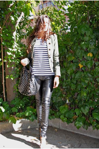 green Bershka blazer - white Jennifer t-shirt - black MORGAN bag - black Zara pa
