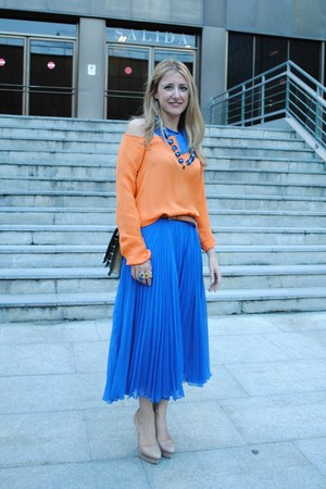 blue Zara skirt - orange Zara blouse - beige cesare paciotti pumps - blue Bimba&amp;