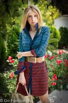 aquamarine Michael Kors dress - camel versace belt