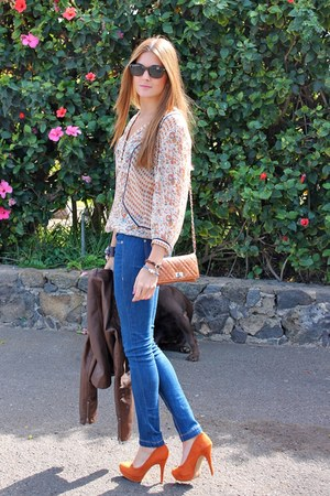 orange Stradivarius heels - navy Bershka jeans - crimson Zara jacket