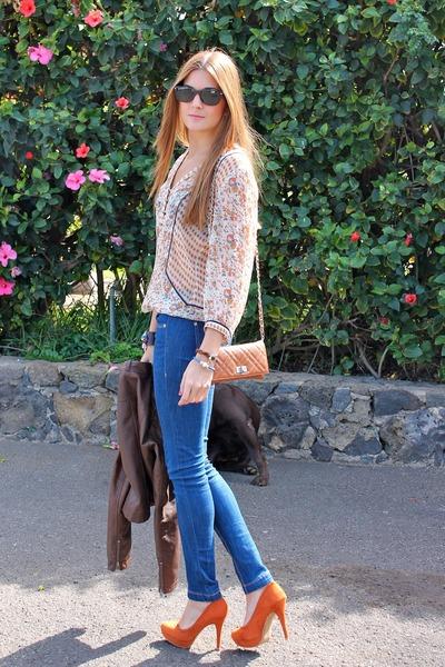 orange Stradivarius heels - navy Bershka jeans - crimson Zara jacket