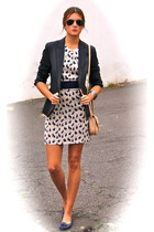 navy Blondie dress - navy Zara blazer - cream Zara bag - navy xti flats