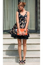 black traffic people dress - carrot orange H&M bag - black Zara wedges