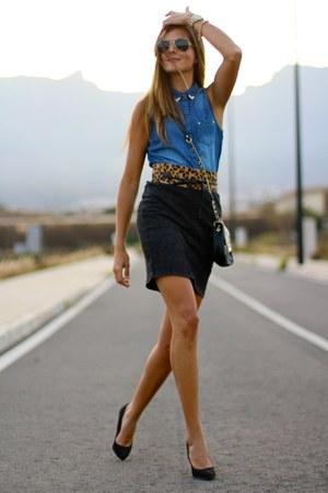 c&a skirt - Lefties shirt - imperio clandestino bag - Mango belt