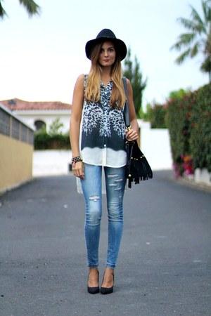s&e blouse - Stradivarius jeans - Zara hat