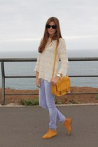 mustard Stradivarius boots - brown Zara coat - light purple Zara jeans