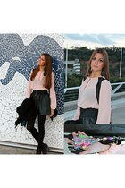pink Zara blouse - black Stradivarius boots - black Zara coat - black Zara skirt