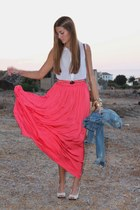 salmon Mango skirt - blue Mango jacket - white Zara heels - white Primark blouse