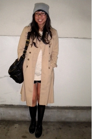 Forever 21 sweater - vintage coat - black H&M - Alexander Wang