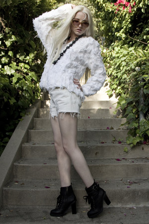 black Kelsi Dagger boots - white Vintage from Tell Tale Heats sweater - white vi