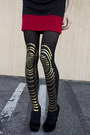 Black-dita-sunglasses-red-forever-21-dress-gold-daddy-long-legz-tights