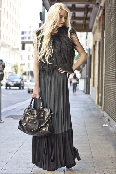 pleated ALC skirt - balenciaga bag - goat fur Diane Von Furstenberg vest