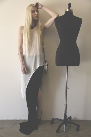 white Sheinside blouse - puce Rebecca Minkoff bag - black Helmut Lang skirt