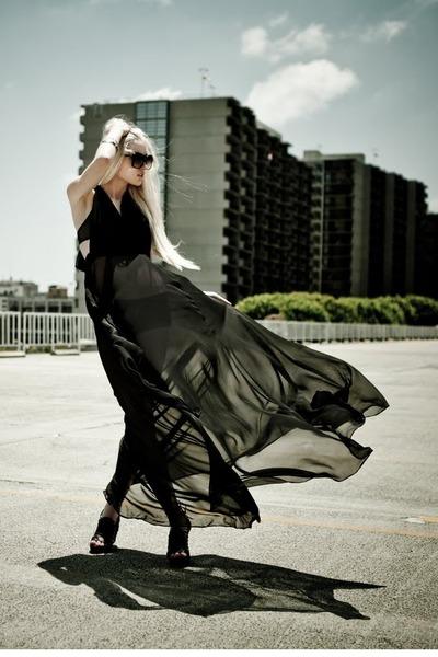 Forever 21 bracelet - Sigerson Morrison shoes - black Shareen dress - Celine bag
