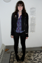 black TJ Maxx jacket - purple Urban Outfitters shirt - black thrifted pants - bl