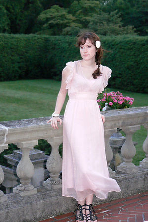 pink Betsey Johnson dress - black Steve Madden shoes - white J Crew accessories
