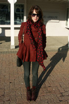 brick red Justin boots - brick red free people coat - dark gray mandees jeans -