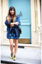 blue Topshop dress - navy Isabel Marant jacket - black Chanel bag