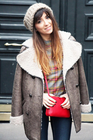 tan folia coat - blue Only jeans - red Celine bag - light blue asos top