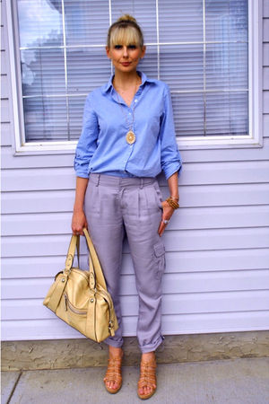 blue zellers shirt - gray Cassis pants - beige army & navy purse - beige winners