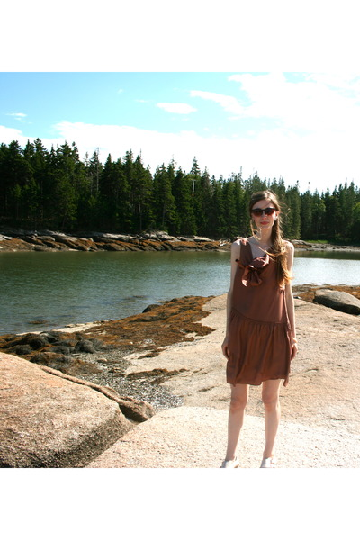 brown JCrew dress - brown Urban Outfitters sunglasses - beige Topshop shoes