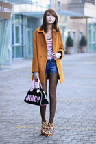 leopard Zanotti boots - bronze Zara coat - black velour Juicy Couture bag
