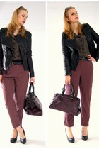 black carry jacket - purple New Yorker bag - purple Marks&Spencer pants