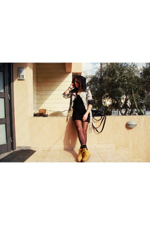 mustard boots - black dress - heather gray jeans - black bag - gold accessories