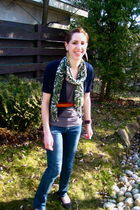 green Costa Blanca scarf - blue Jacob cardigan - orange banana republic belt - g