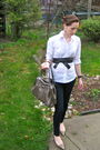White-american-eagle-shirt-gold-shoedazzle-shoes-beige-jessica-purse-blue-