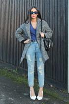 tweed Topshop coat - asos jeans - Urban Outfitters bag