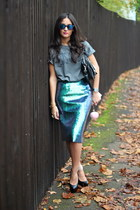 H&M skirt - studded bag Urban Outfitters bag - unknown glasses