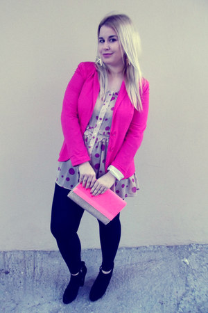 hot pink pink Zara cardigan - black suede Nine West boots