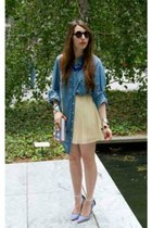 maxi skirt skirt - denim jacket Guess jacket - clutch bag