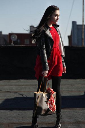 red Opening Ceremony dress - black pinkyotto jacket - black Anne Klein tights -