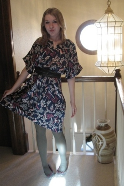made by me dress - vintage scarf - Simply Vera Vera Wang tights - American Eagle