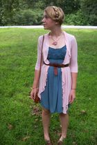blue dress - pink Charlotte Russe cardigan - brown belt - brown Dooney and Bourk