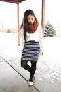 Burnt-orange-asos-scarf-navy-stripes-forever-21-skirt
