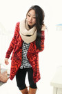 Navy-gingham-forever-21-shirt-brick-red-urban-outfitters-cardigan