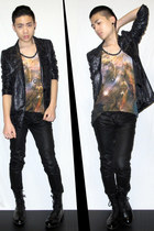 burnt orange galaxy tank Christopher Kane top - black high boots zipia boots