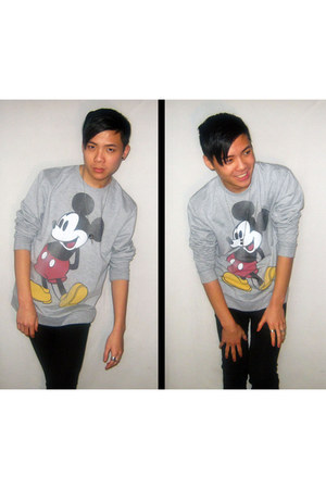 heather gray Topman sweater - black JayJays jeans