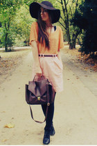 orange blouse - dark brown bag