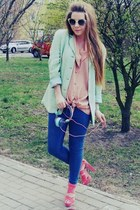 aquamarine blazer - bubble gum sandals