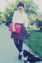 cream shirt - hot pink bag - dark gray skirt