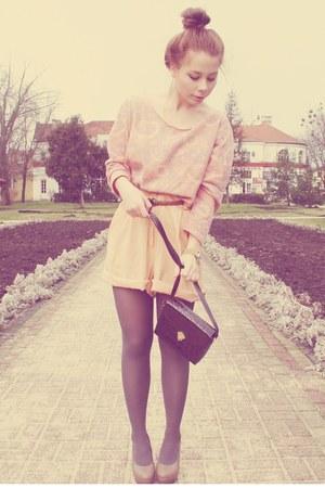 wedges - bag - shorts - blouse