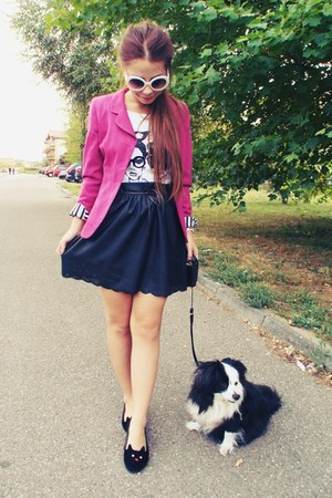 hot pink jacket - black leather skirt - black diy flats