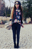 red floral shirt - dark gray jeans