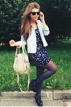 navy dress - light blue jacket