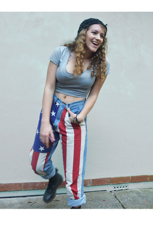 sky blue american flag vintage from Ebay jeans