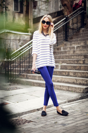 white stripes whyred t-shirt - blue glitter H&amp;M pants